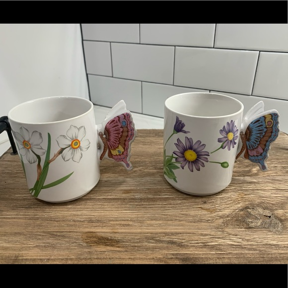 Vintage Butterfly Handle Floral Coffee Cups